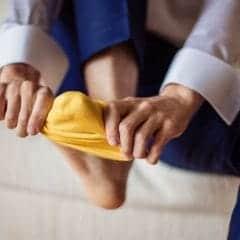 靴の中で靴下が脱げる